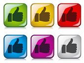 stock photo of thumbs-up  - vector thumbs up buttons - JPG