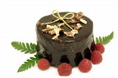 image of ou  - Chocolate cake for Christmas ou a birthday with raspberries and a golden ribbon - JPG
