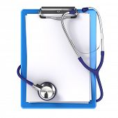 Blank medical clipboard with stethoscope