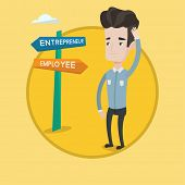 Man standing at road sign with two career pathways - entrepreneur and employee. Man choosing career  poster