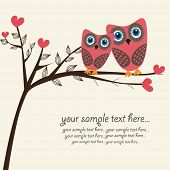picture of love heart  - Owls couple in love - JPG