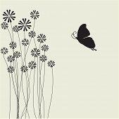 Постер, плакат: Цветы и бабочки Векторная карта