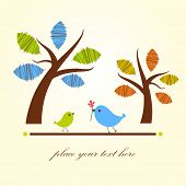 Greeting card with two birds under tree