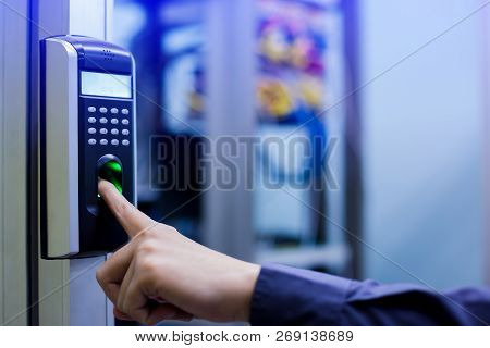 poster of Staff Push Down Electronic Control Machine With Finger Scan To Access The Door Of Control Room Or Da