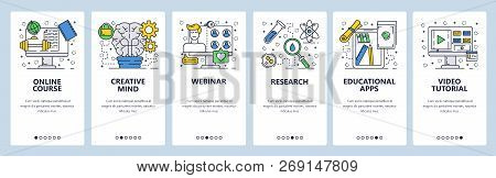 169071d8c Poster of Vector Web Site Linear Art Onboarding Screens Template. Online  School Education, Webinar, Training C