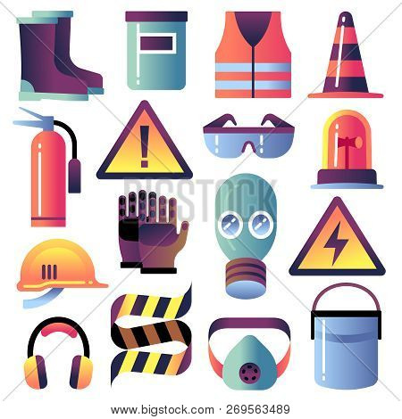 poster of Safety Equipment. Personal Protection For Construction Works. Helmet, Glove And Glasses. Safety Job