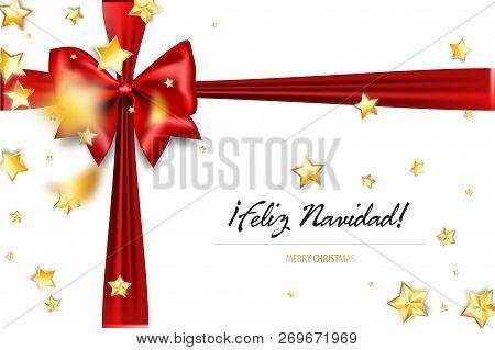Merry Christmas In Spanish.Feliz Navidad Merry Christmas Spanish Greetings Holiday Christmas Red Gift Silk Bow Xmas Textile Poster