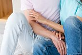 Couple Leisure. Woman And Man Cuddling And Hugging. Tender Moments Of Loving Relationship. poster