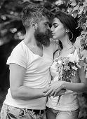 Man Bearded Hipster Hugs Gorgeous Girlfriend. Couple Love Romantic Date Nature Park Background. Love poster