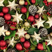 Christmas background star and ball bauble decorations with holly, ivy, mistletoe and pine cones. Fes poster