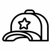 Star Baseball Cap Icon. Outline Star Baseball Cap Icon For Web Design Isolated On White Background poster
