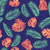 Summer Exotic Floral Tropical Palm, Philodendron Leaf. Jungle Leaf Seamless Pattern. Botanical Plant poster