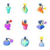 Fragrance Icons Set. Isometric Set Of 9 Fragrance Icons For Web Isolated On White Background poster
