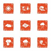 Global Climate Warming Icons Set. Grunge Set Of 9 Global Climate Warming Icons For Web Isolated On W poster