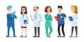 Medicine Doctors. Medical Physician, Hospital Nurse And Doctor With Stethoscope. Medic Healthcare Wo poster