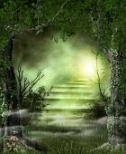 Concept Of Enchanting Forest Path Stairs Leading To A Heavenly, Magic Light, 3d Render poster