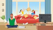 Father In A State Of Stress With Playing Children. Home Stress Concept With Cartoon Characters. Vect poster