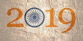 Ashoka Chakra Symbol Build In 2019 Year Number. Modern Brochure, Report Or Flyer Design Template. poster