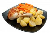 image of fried chicken  - Cooked chicken with carrots and potatoes - JPG