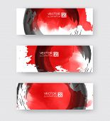 Banners With Abstract Black Ink Element Wash Painting Element In East Asian Style. Traditional Japan poster