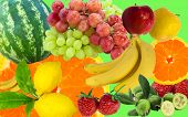 Fresh Fruits Colorful Background. Mix Of Juicy Fruits poster
