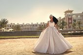 Woman In White Dress. Bride And Wedding Ceremony. Elegance And Fashion Model. Wedding Fashion And Be poster