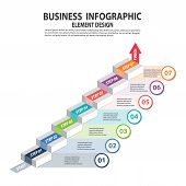 Infographics Business Template With 7 Steps For Presentation, Sale Forecast, Web Design, Improvement poster
