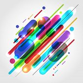 Abstract Motion Dynamic Composition Made Of Various Colored Rounded Shapes Lines In Diagonal Rhythm  poster