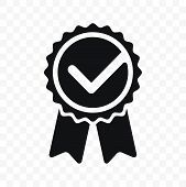 Quality Check Ribbon Icon. Vector Product Certified Or Best Choice Recommended Award And Warranty Ch poster