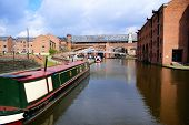 stock photo of flatboat  - Bridgewater Canals in Manchester - JPG