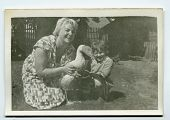 picture of mother goose  - Vintage portrait of mother and daughter with a goose  - JPG