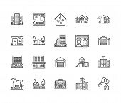 Real Estate Flat Line Icons Set. House Sale, Commercial Building, Country Home Area, Skyscraper, Mal poster