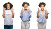 Collage of african american woman over isolated background smiling crossing fingers with hope and ey poster