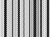 Plaits And Braids Pattern Brushes. Knitting, Braided Ropes Vector Isolated Collection. Braid Pattern poster