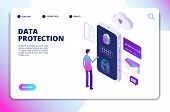 Data Protection Isometric Concept. Personal Identity, Protected Document Finance Security. Confident poster
