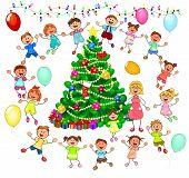 Joyful Little Children And A Teacher Near The Christmas Tree. Children Near The Christmas Tree Celeb poster