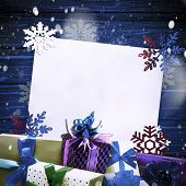 Small Handmade Gift Boxes In Shiny Colorful Night. Luxury New Year Gift. Christmas Gift. Christmas B poster