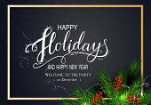 Holidays Greeting Card For Winter Happy Holidays. Fir-tree Branches Frame With Lettering And Golden  poster