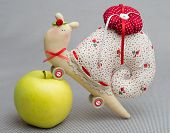 picture of tilde  - tilde toy handmade needle bed with an apple snail - JPG