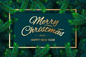 Christmas Tree Branches Template. Merry Christmas And Happy New Year Golden Lettering With Border Fr poster