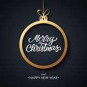 Christmas And Happy New Year Greeting Card With Hand Drawn Lettering Merry Christmas, Golden Christm poster