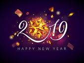 2019 Happy New Year And Christmas Background, Greeting Card With Calligraphic 2019 Number, Shiny Gol poster