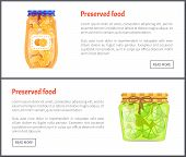Preserved Food In Jars Web Internet Banners Set. Ripe Orange And Lime Slices Canned Product Online P poster