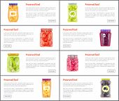 Preserved Food Banners Set Of Fruits And Vegetables. Spicy Canned Products Or Jam With Compote Web O poster