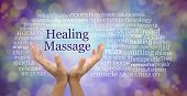 Healing Massage Word Cloud - Female Hands Reaching Up To The Words Healing Massage Surrounded By A R poster