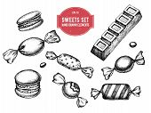 Vector Collection Of Hand Drawn Black And White Macaron, Bar, Candies poster