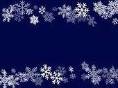 Winter Snowflakes Border Minimal Vector Background.  Many Snowflakes Flying Border Design, Holiday B poster