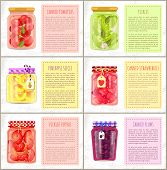 Canned Tomatoes, Strawberries And Plums, Pineapple Slices, Pickled Peppers And Cucumbers Poster. Spi poster