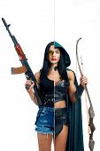 Strong Woman In Two Occupations Of Shooter And Actress Isolated On White Background. Muscular Girl W poster