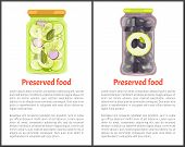 Preserved Food Posters, Vegetables In Marinade. Cucumbers With Onions, Black Greek Olives Inside Jar poster